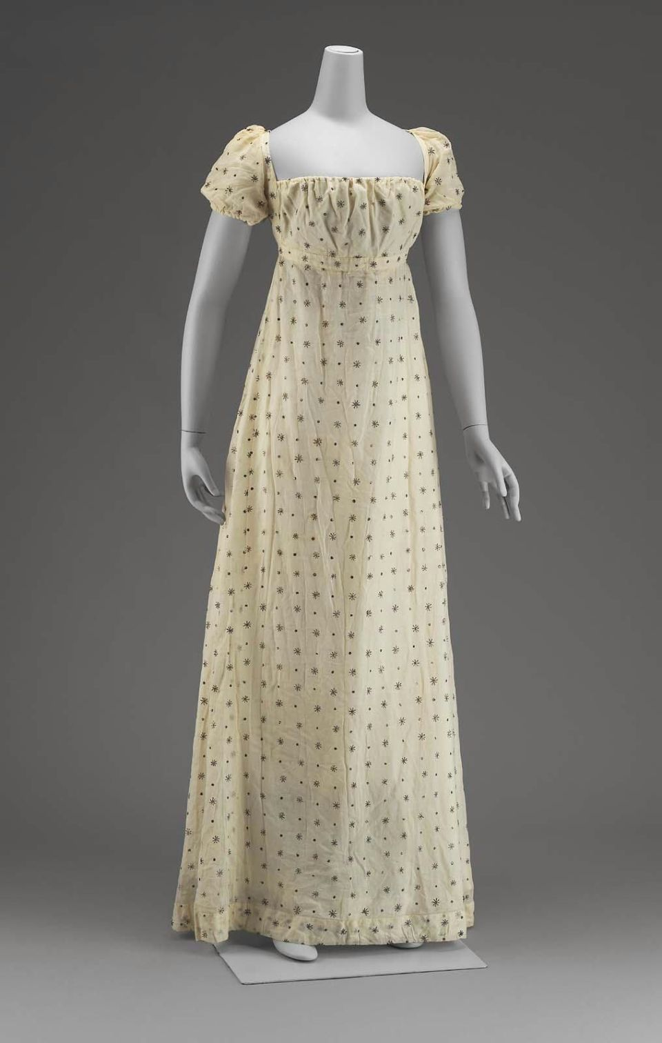 Dress Early 19th Century American Cotton Mull With
