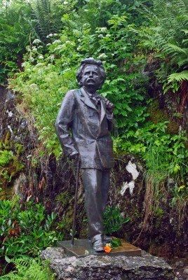 Statue of famous norwegian composer Edward Grieg near by his house in Bergen, Norway