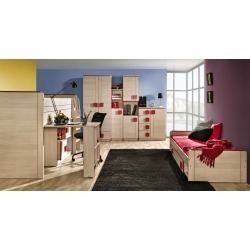 Chambre des jeunes – Commode Elias 03, Couleur: Marron clair / Rouge – Dimensions: 96 x 80 …