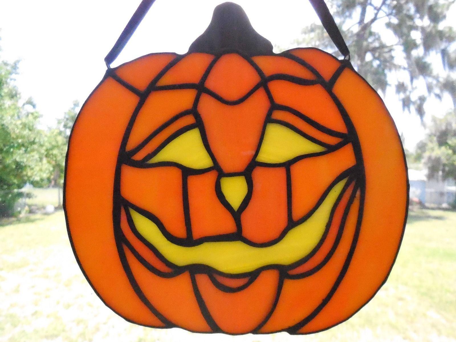 handmade stained glass halloween pumpkin suncatcher jack o lantern