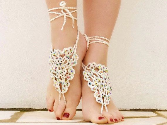 8882c2d777e7fb Beaded Creame Barefoot Sandals