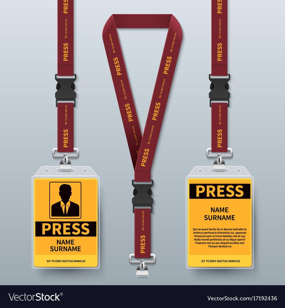 Business press pass id card lanyard badges vector image
