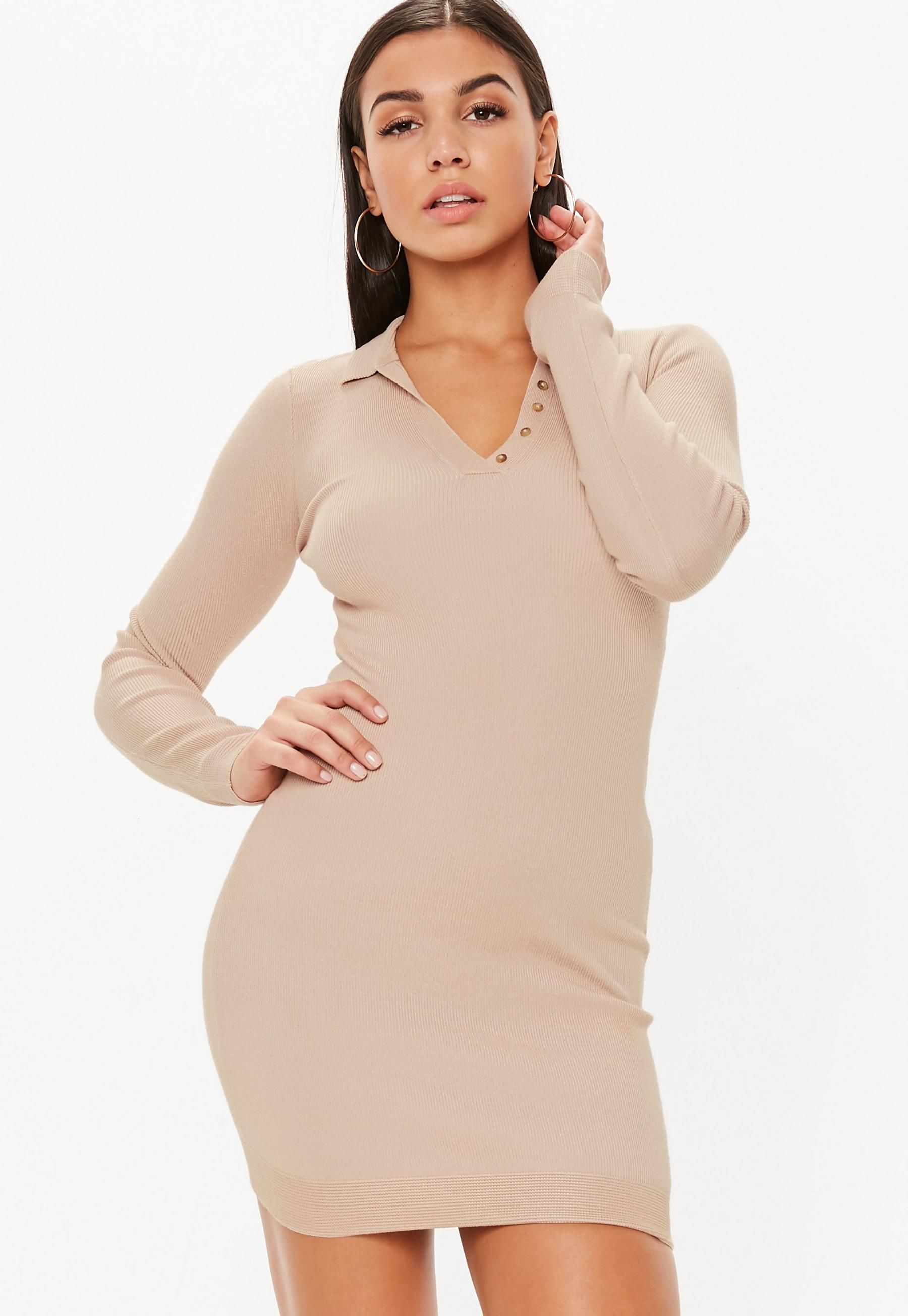 Tan Button Collar Long Sleeve Knitted Mini Dress Missguided Knit Mini Dress Mini Dress Sweaters For Women [ 2608 x 1800 Pixel ]