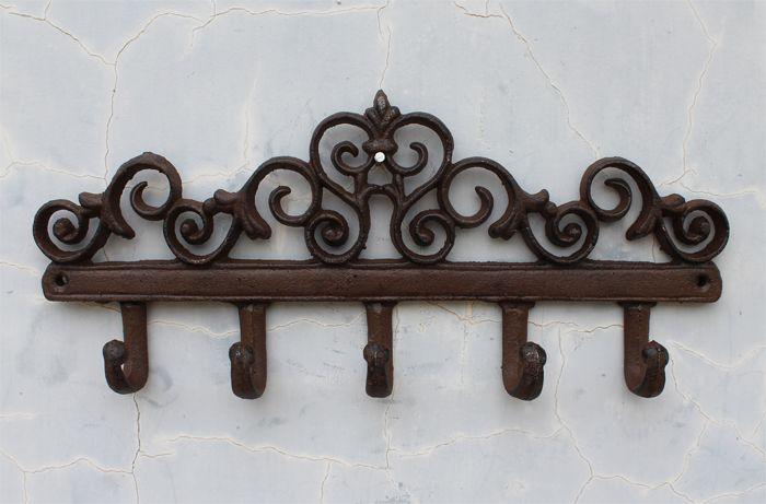 cast iron wall hanger vintage design with 5 hooks keys towels wall mounted metal heavy duty rustic vintage decorative gift idea - Decorative Coat Hooks