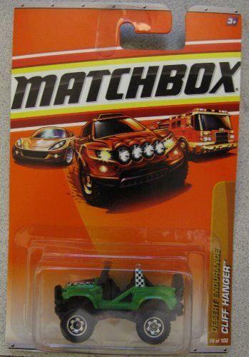 2011 Matchbox Desert Endurance Cliff Hanger GREEN 86/100 by Mattel. $4.77. 1:64. Cliff Hanger Jeep. Desert Endurance Series. 2011-086 Matchbox Cliff Hanger Jeep GREEN