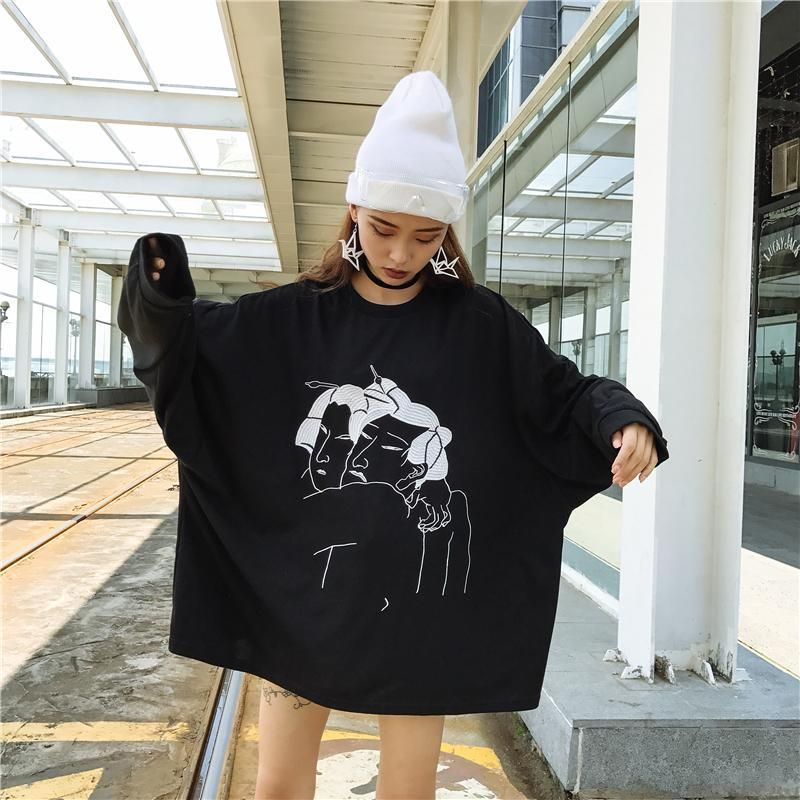 Autumn Chic Oversized Women Funny Thin Hoodies Korean Ulzzang Boyfriend Style  Japanese Harajuku Long Sleeve Black Sweatshirts 1c1b51897330
