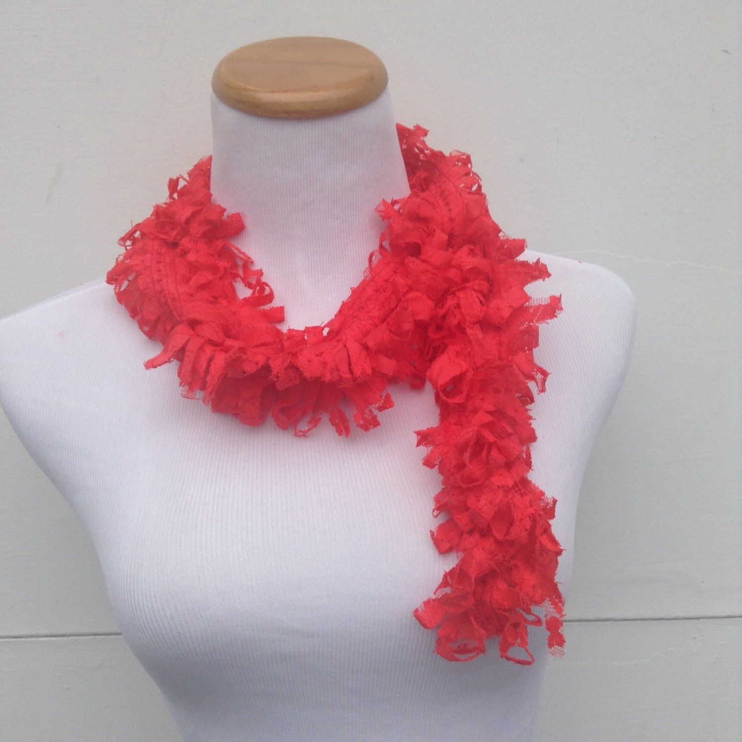 Red Loopy Scarf, Red Lace Scarf, Autumn Scarf, Christmas Gift ...
