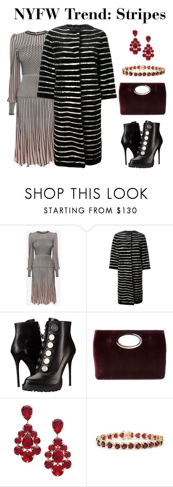 """Stripes"" by judithc-2900 on Polyvore featuring Alexander McQueen, LISKA, Donald J Pliner, L. Erickson, Gioelli, polyvorecommunity and polyvorefashion"