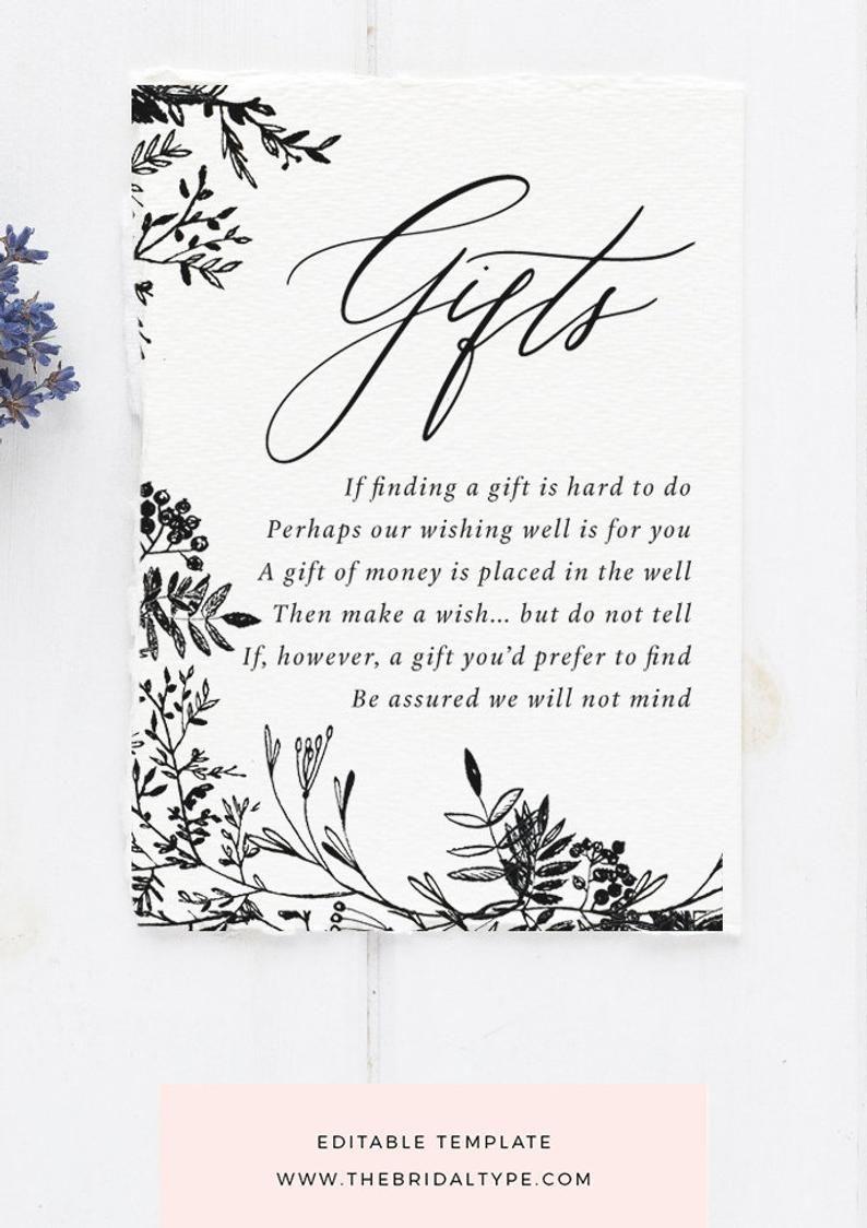 Gift Registry Card Templett Gift Registry Wedding Registry Etsy Wedding Registry Cards Wedding Registry Template Gift Registry Cards