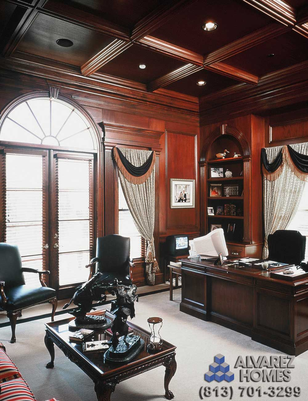 i like the shape of the crown molding the woodside study with wood panel