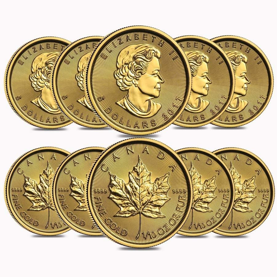 Lot Of 10 2017 1 10 Oz Canadian Gold Maple Leaf 5 Coin 9999 Fine Bu Sealed Coins 5 Coin Maple Leaf