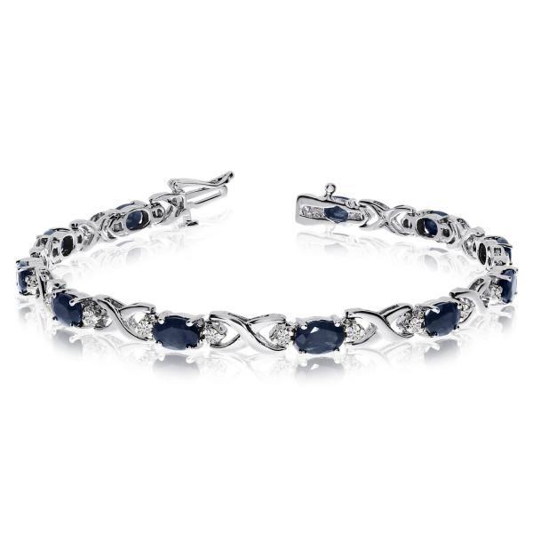 Oval Sapphire Diamond Xoxo Link Bracelet 14k White Gold 7 00ctw Tennis Bracelet Diamond Blue Sapphire Bracelet Sterling Bracelets