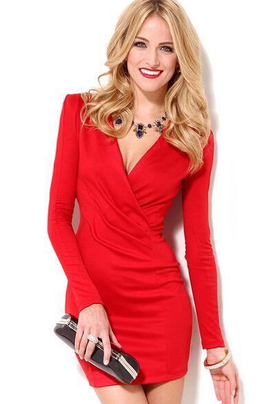 la mejor actitud cómo comprar tienda oficial Red V Neck Long Sleeve Slim Bodycon Dress - Sheinside.com ...