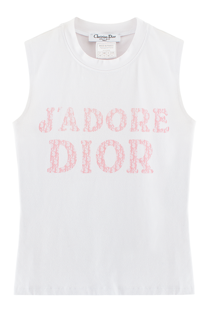 Gabriel Held Vintage Dior J Adore Pink Logo Tank Iconic White Baby Pink J Adore Dior Tank With Dior Logo Fashion Design Clothes Dior Logo Monogrammed Dress