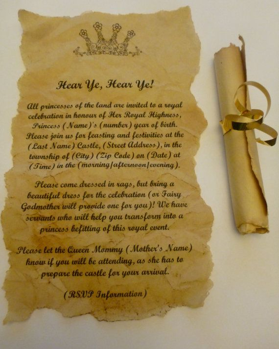 Scroll Invitations for birthday party baby or wedding shower – Medieval Birthday Invitations