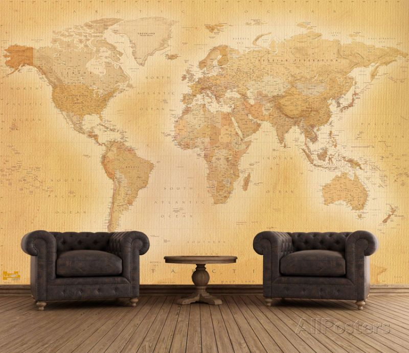 Old Map Wallpaper Mural 315 x 232cm Removable Decor Art Home Room ...