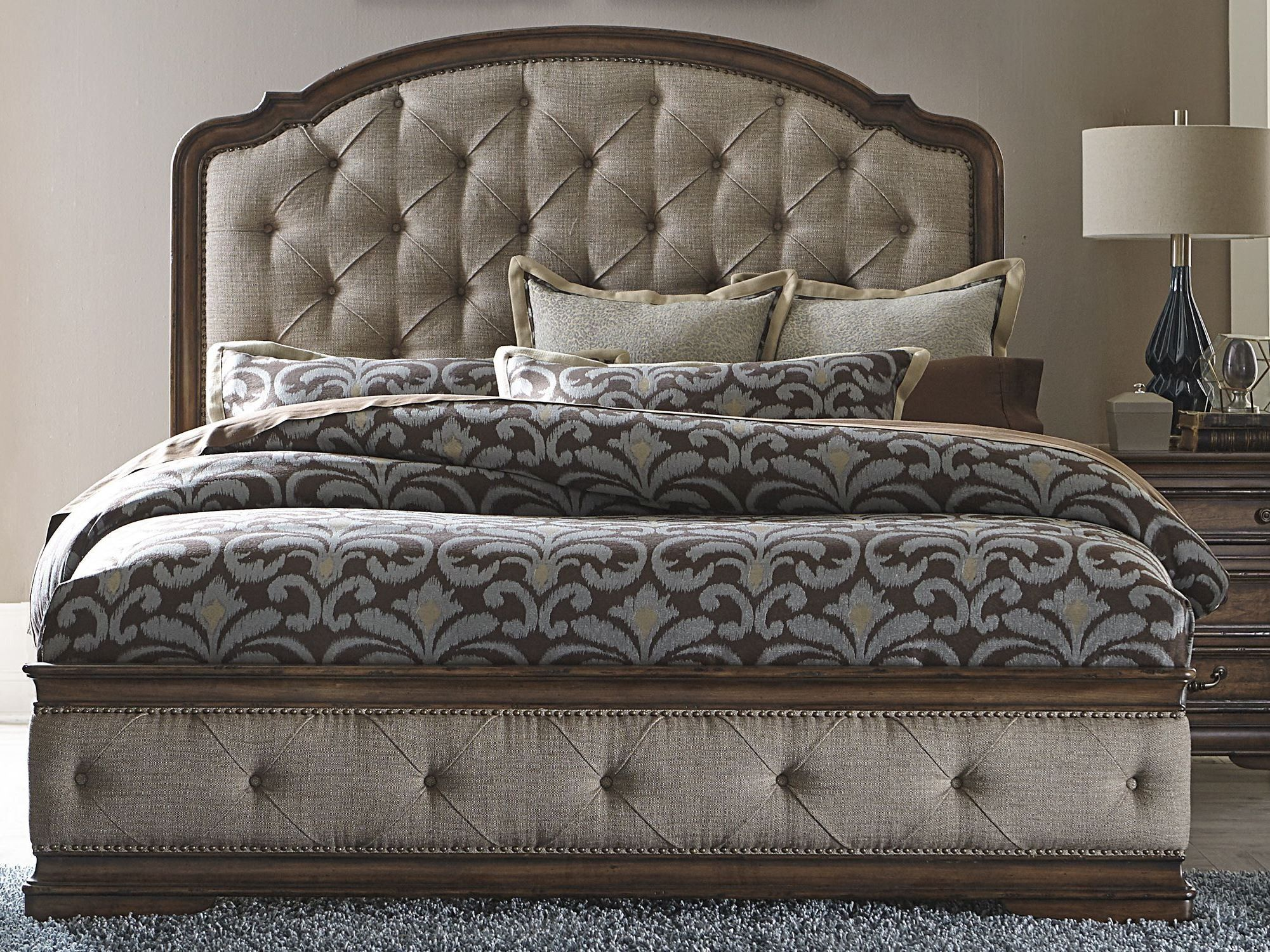 e0e835f861496 Liberty Amelia Antique Toffee King Upholstered Mansion Bed - Order today to  get an affordable price from Coleman Furniture and pay nothing for shipping.
