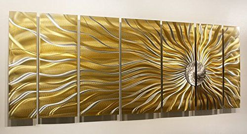 Modern Hand Painted Gold, Silver Metal Wall Art Sculpture - Multi ...