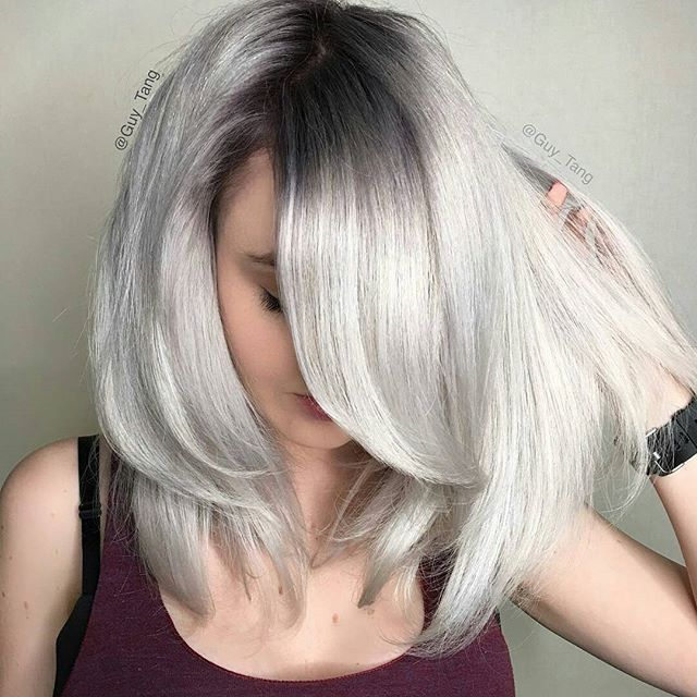Granny Silver Grey Hair Color Ideas Metallic