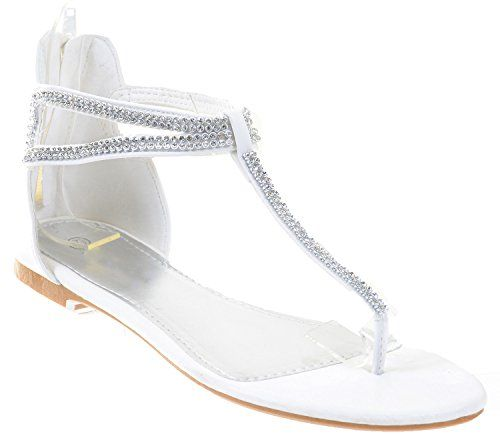 76787eac52cc Jeweled Rhinestone TStrap Bridal Party Flat Sandals Fourever Funky      Visit the image link more details.(This is an Amazon affiliate link and I  receive a ...