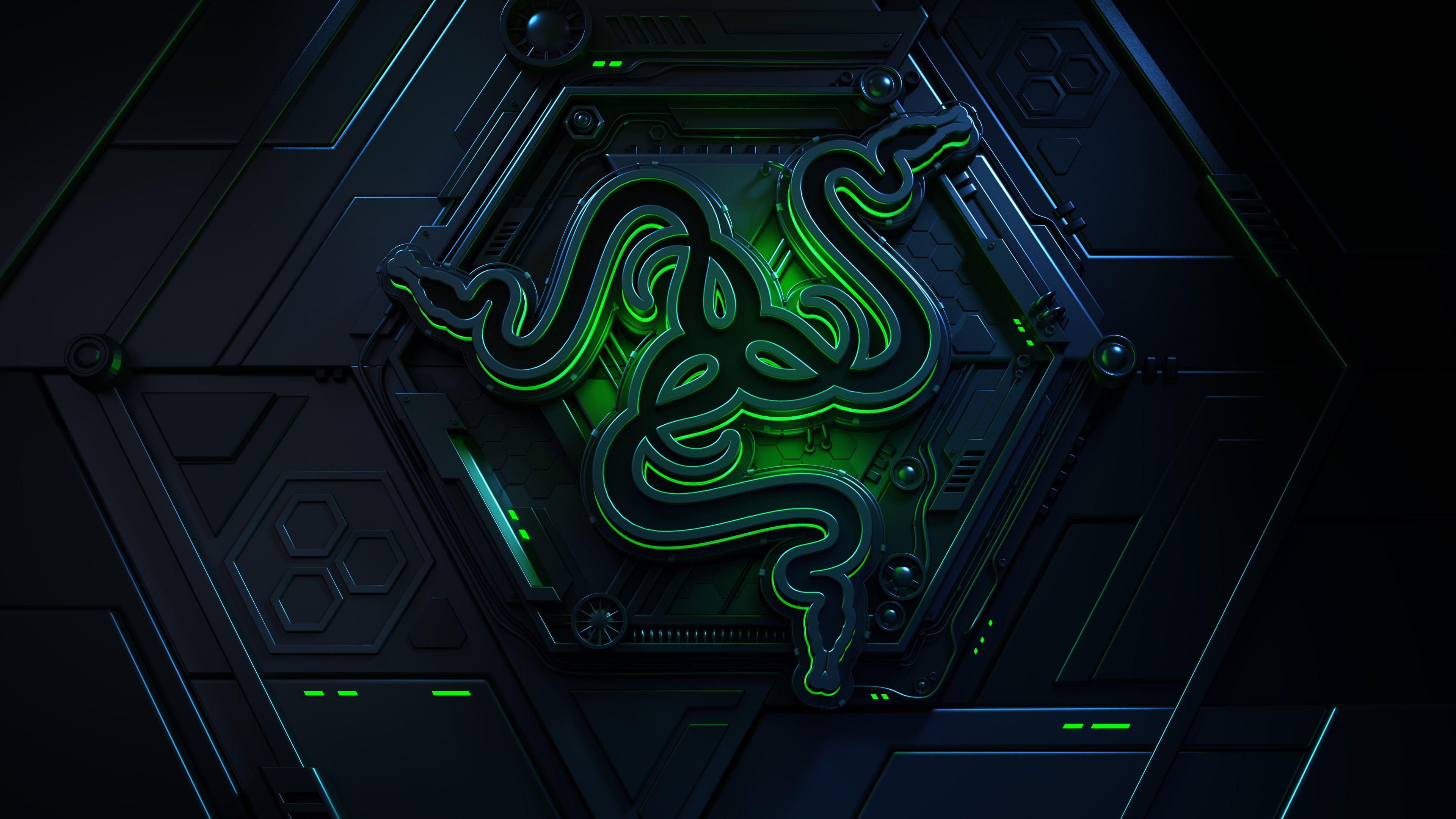 4k Dark Background Green Razer Logo 3d 4k Wallpaper