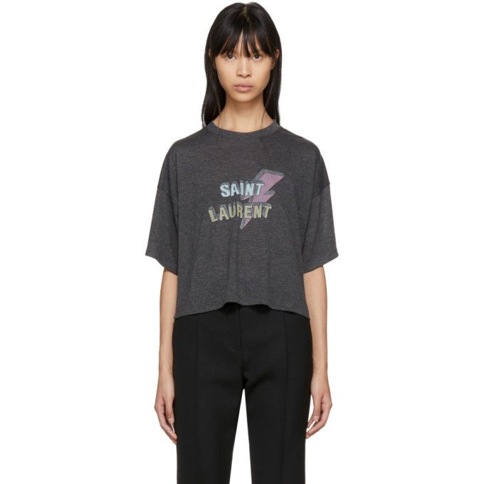 Cheap Sale With Paypal cropped lightening bolt T-shirt - Grey Saint Laurent Real Online wq5yw