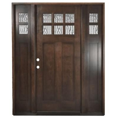 Steves  Sons  In X  In Shaker  Lite Stained Mahogany Wood - Shaker front door