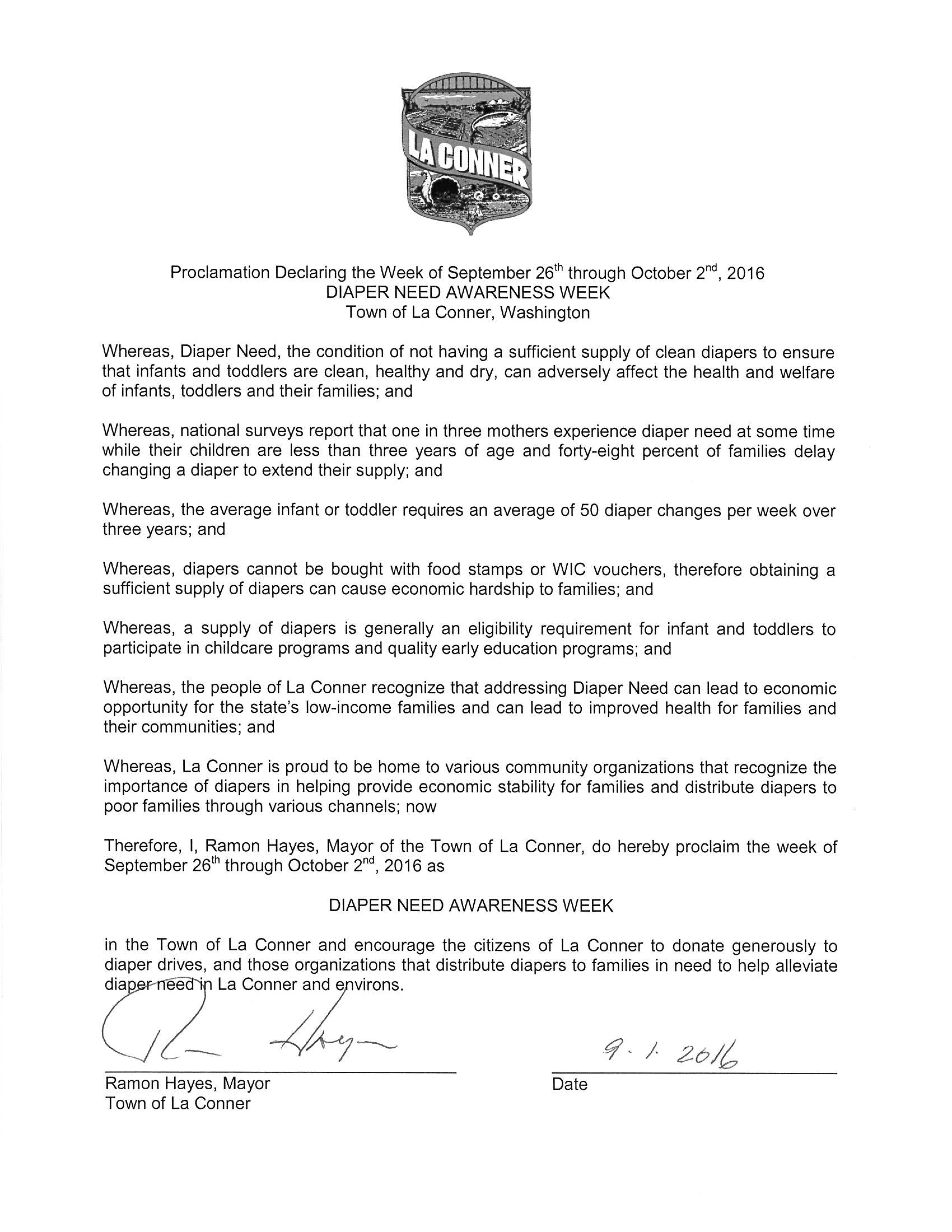 LA CONNER, WA - Mayoraly proclamation recognizing Diaper Need Awareness Week (Sep. 26th - Oct. 2, 2016) Diaperneed.org #Diaperneed