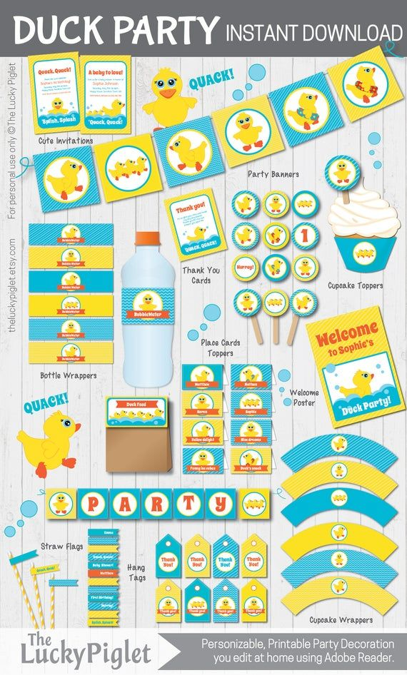 RUBBER DUCK BIRTHDAY Party Invitation and Party Decoration