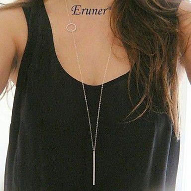 Eruner®+Simple+Geometric+Rectangular+Metal+Tassel+Chain+Necklace+–+USD+$+2.69