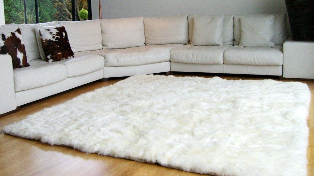 tapis blanc peau de mouton salon