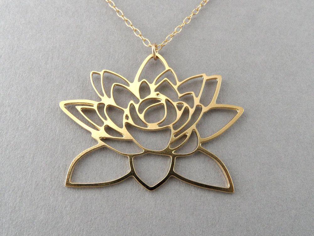 Gold lotus flower necklace lotus pendant lotus jewelry