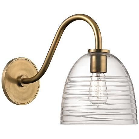 "Remsen 13 1/2"" High Aged Brass Glass Shade Wall Sconce -"
