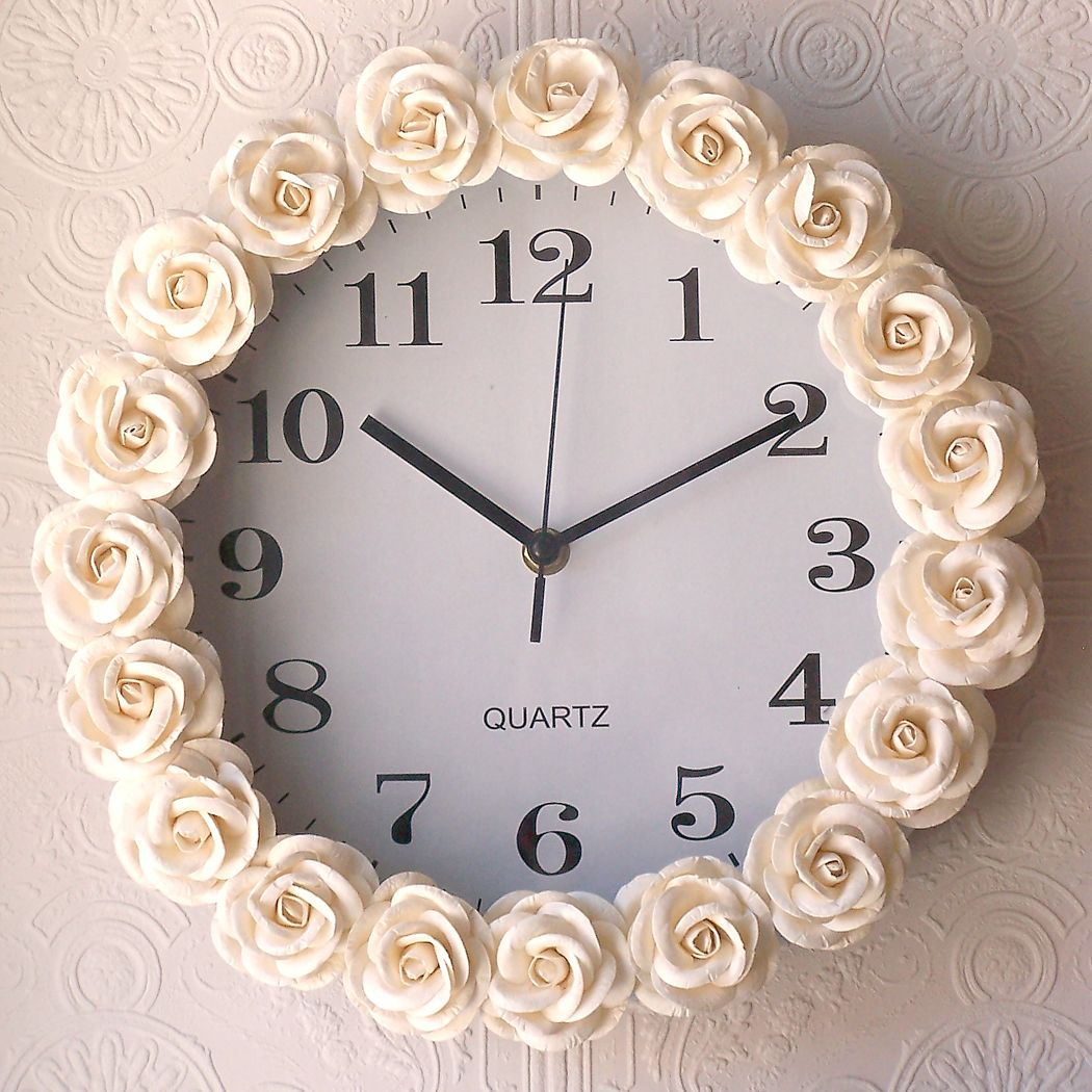 Buy a cheap clock hot glue fabric rosettes around it dont buy a cheap clock hot glue fabric rosettes around it don amipublicfo Image collections