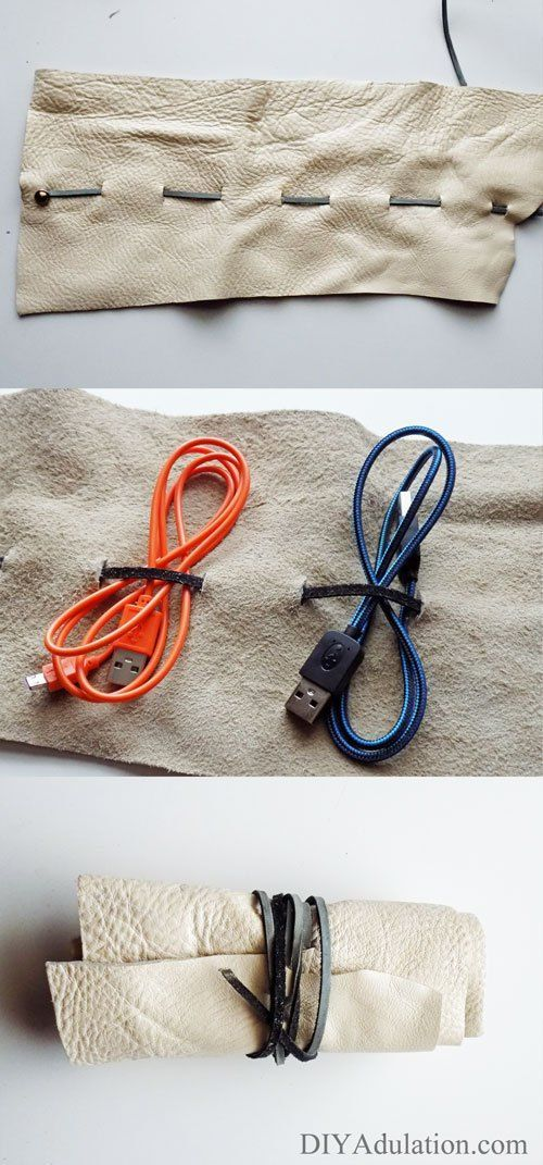 Diy Leather Charging Cord Organizer Tame The Cord Drawer Upcycle