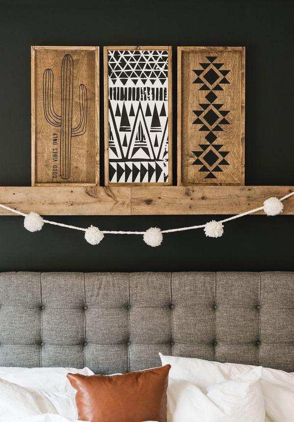 Boho Trio | Aztec Mudcloth Cactus | Modern Wood Signs