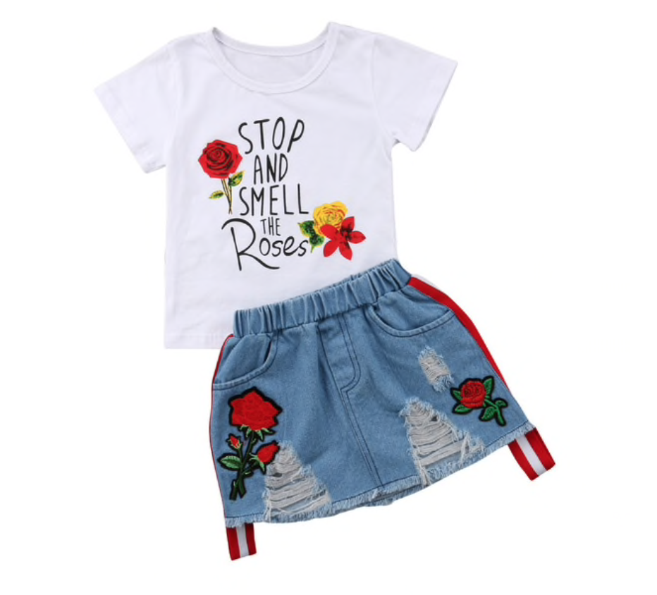 Now Available On Our Store Stop Smell The Check It Out Here Http Www Cutsiebobbs Co Uk Pr Girls Denim Skirts Girls Summer Outfits Cute Skirt Outfits