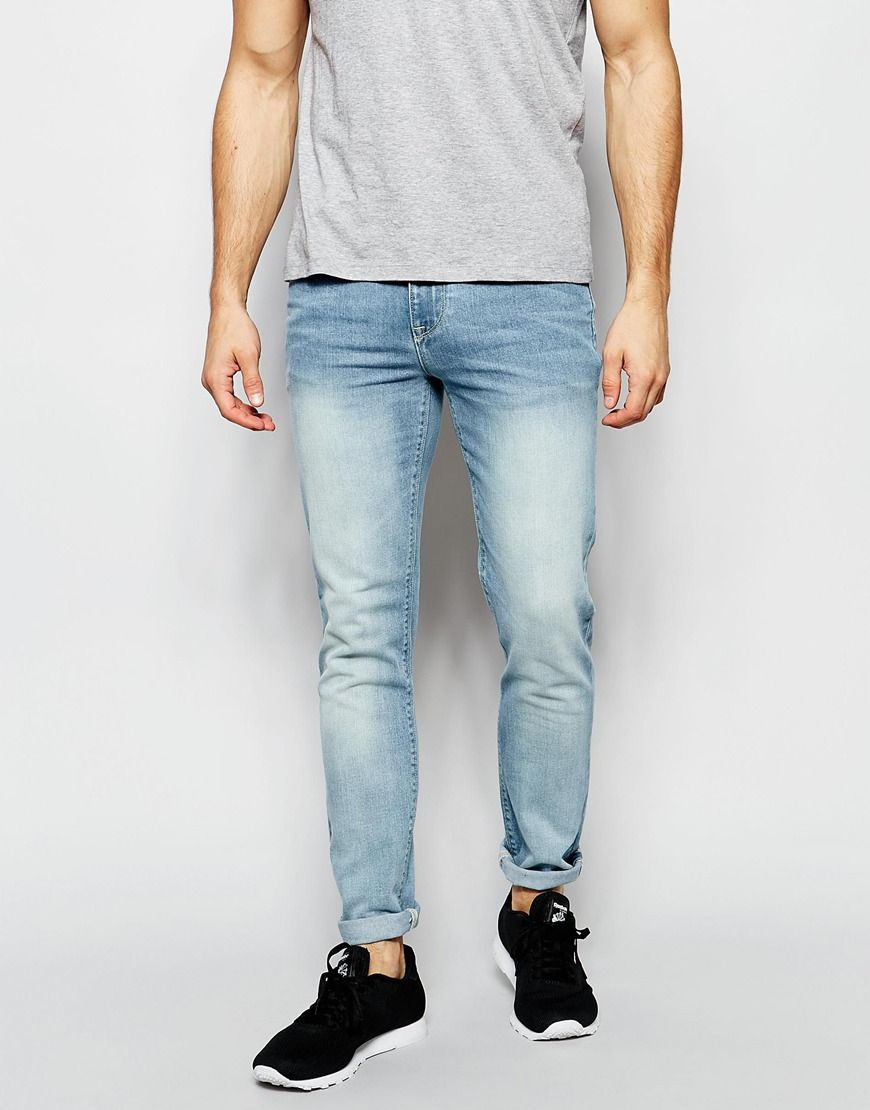 Image 1 of ASOS Skinny Jeans In Vintage Light Wash