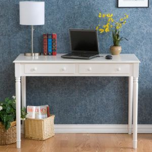 narrow writing desk with drawers