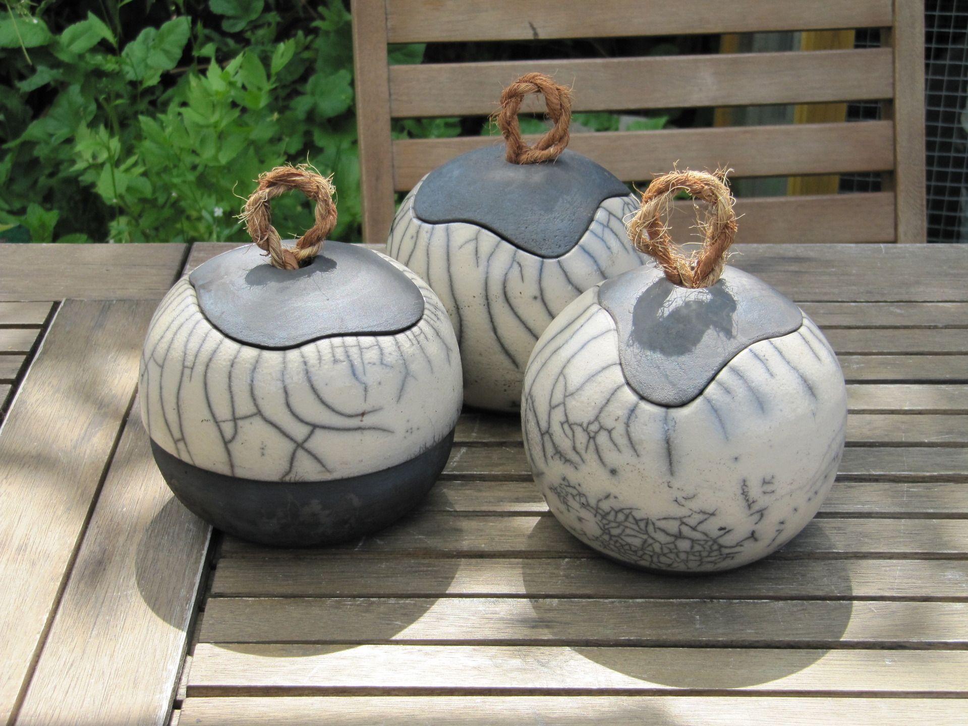 Petite bo te raku d coration avec cordon fibre de coco - Idee de poterie ...