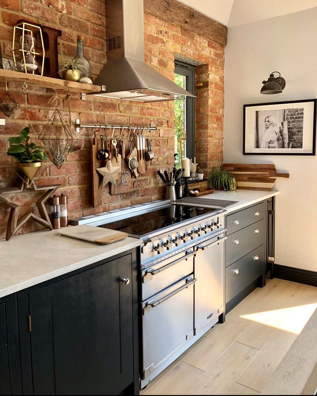 exposed brick wall in kitchen, blue kitchen, modern rustic ...