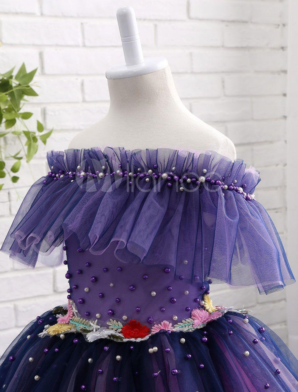 Lavender flower girl dress off the shoulder tutu dress