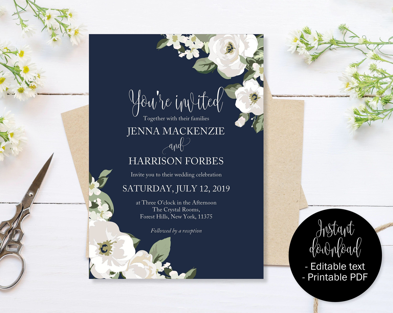 Navy Blue Wedding Invitation Navy Blue And Green Wedding Invite