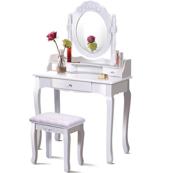 Costway White Vanity Wood Makeup Dressing Table Stool Set bathroom