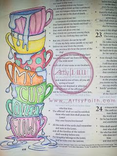 Artsy Faith: Psalm 23 | My cup overflows Bible Journaling, Bible Art Journaling, Faith Art