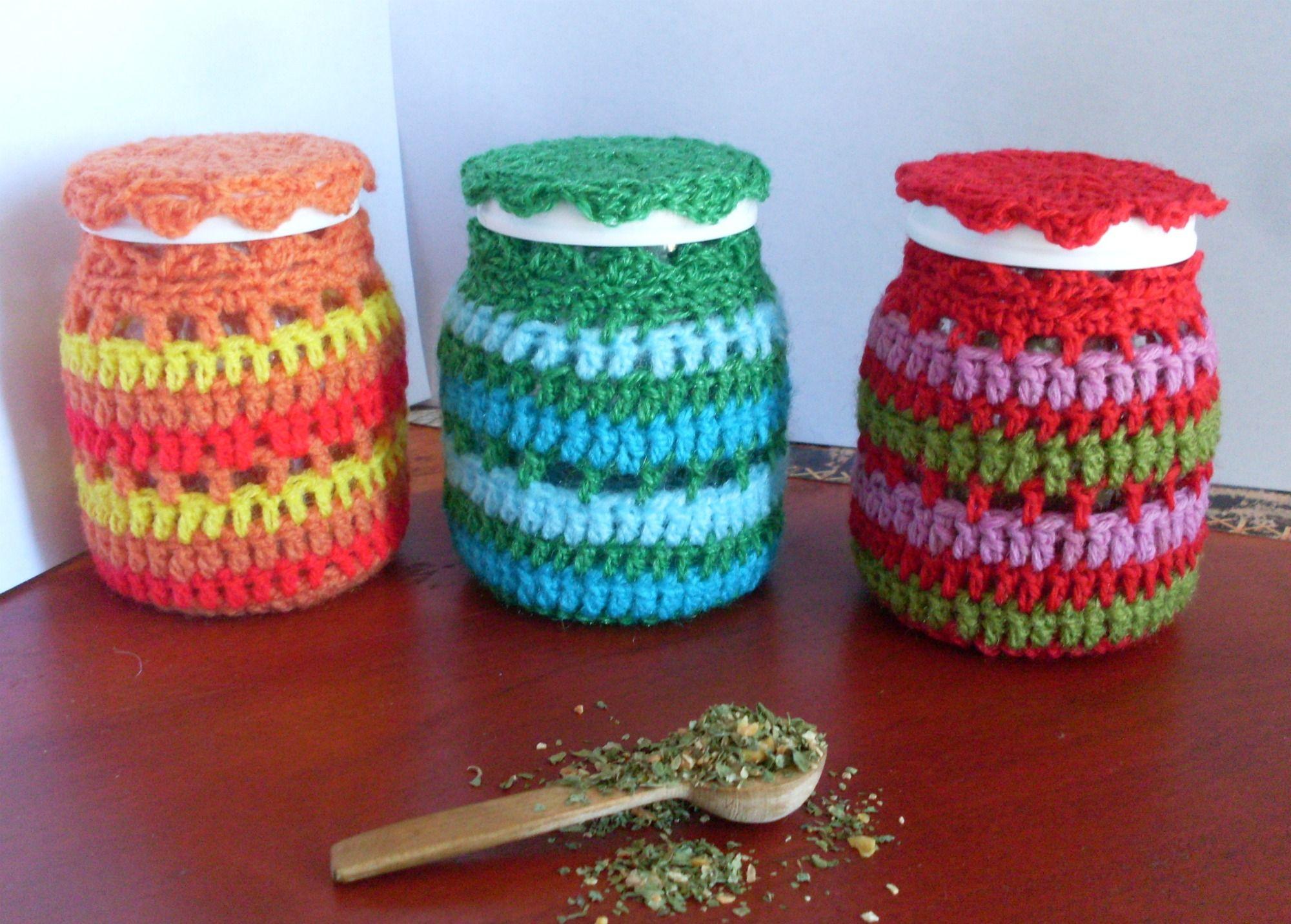 Frascos tejidos a crochet jars with covers woven crochet for Decoracion hogar a crochet