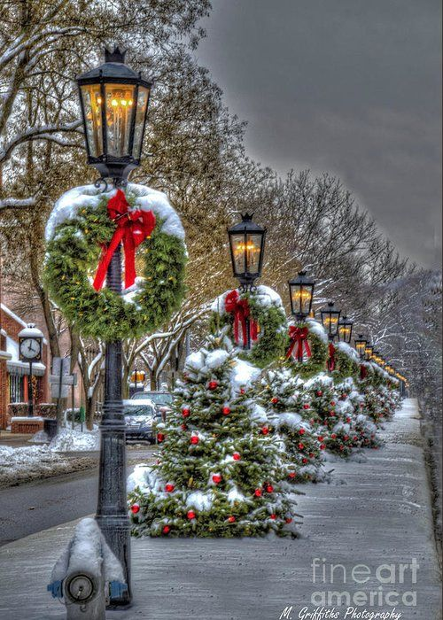 Christmas on Main Street Greeting Card for Sale by