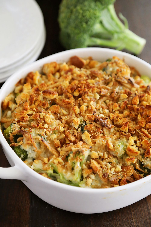Broccoli Cheddar Gratin with Crispy Onions