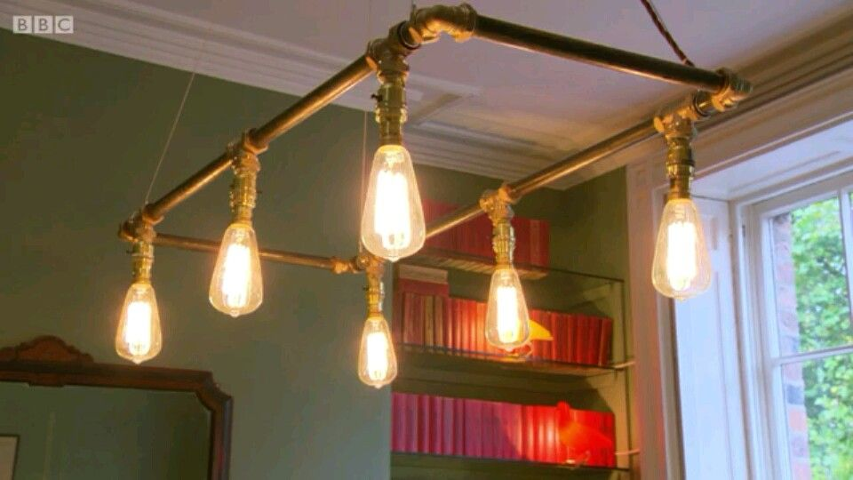 Brass light fitting made by me on 'the great interior design show' for the