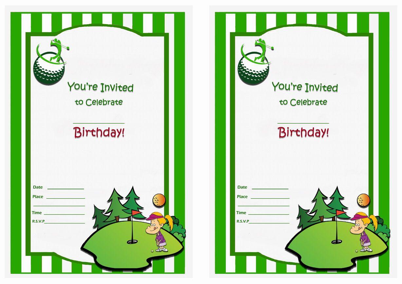 Golf Birthday Invitations Printable